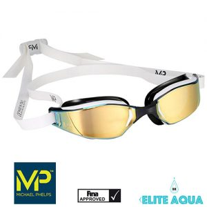 MP Michael Phelps XCEED Titanium Mirrored Goggles White/Black賽鏡